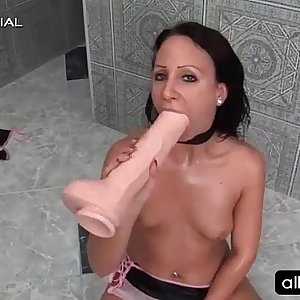 Slender brunette hooker self fucking with giant dildo