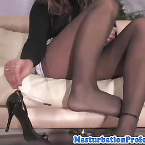 Pantyhose babe showing off her vagina