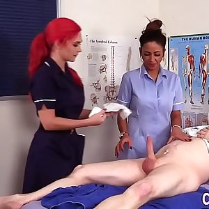 Uniformed nurses get cum