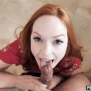 Crazy redhead Mummy stepmom dropped down on her knees
