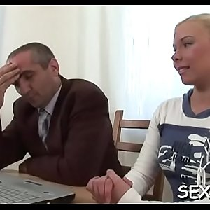 Chick is delighting older teacher with her chaste beaver