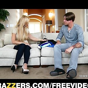 Single blonde mom Amber Lynn rides her son in laws big-dick