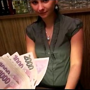 Tongues amateur brunette Euro bartender Marie analyzed for cash