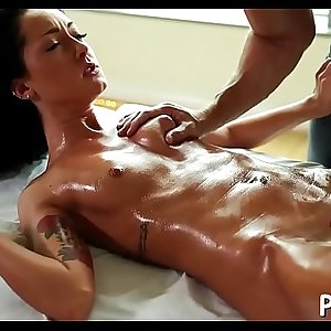 Hot massage with juicy blowjob