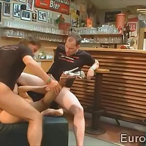 Brunette goo girl swallows the load of a bunch of studs