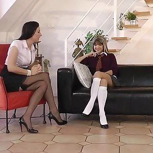 Mature in lingerie gets spanked by teen