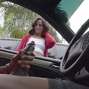 Dick Flash! Cute Teen Gives Me Hand Job in Public Parking Lot after She Sees My Big Black Hard-on