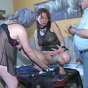 OldNanny Sexy youthful Lady playing with old man and his old chubby mature