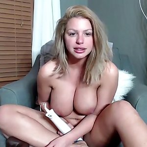 brooklyn chase big tits bouncing while giving cunt massage and orgasm