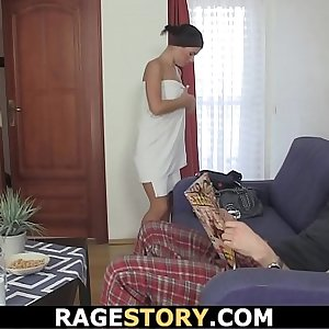 Hot Czech woman takes rough banging after shower