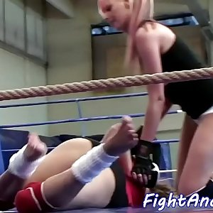 Teenage dyke licks babes pussy after wrestling