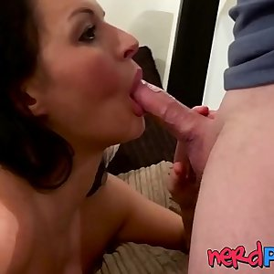 UK MILF Devon Breeze sucking hard-on deepthroat in audition